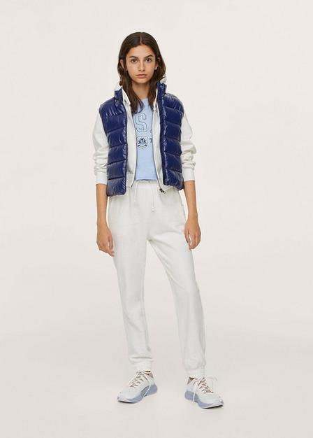 Mango - Natural White Cotton Jogger-Style Trousers, Kids Girl