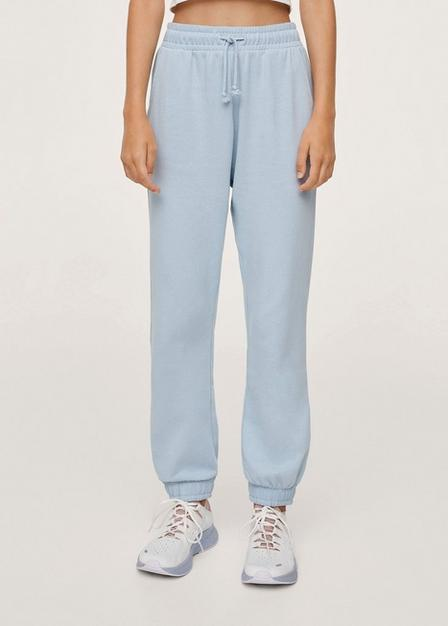 Mango - Lt-Pastel Blue Cotton Jogger-Style Trousers, Kids Girl