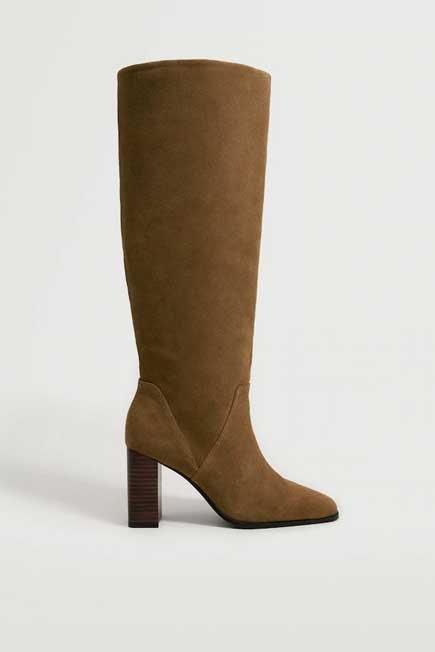 Mango - Brown Leather Boots With Tall Leg, Women