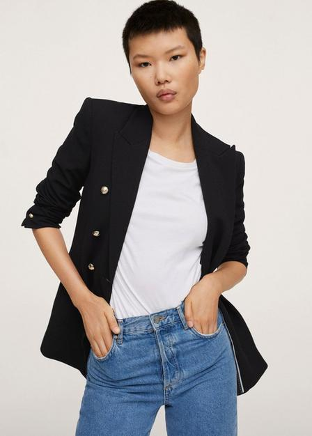 Mango - Black Double-Breasted Blazer With Buttons, Women