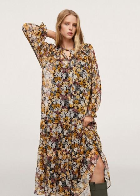 Mango - yellow Floral print dress, Women