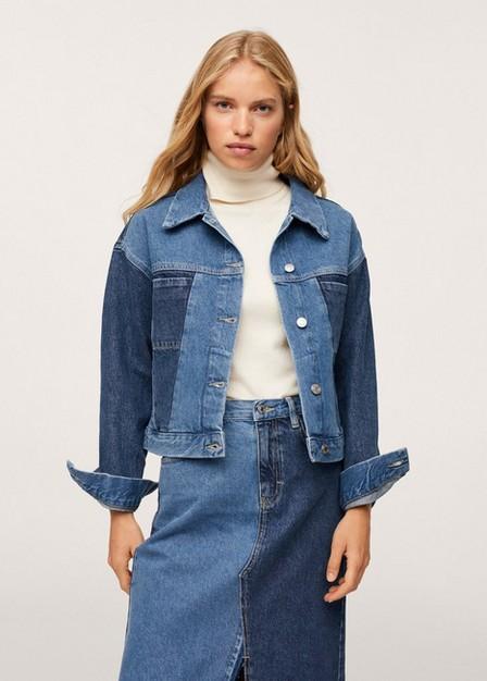 Mango - Open Blue Contrast Panel Jacket, Women