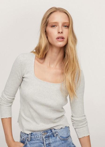 Mango - Ivory White Long Sleeve Cotton T-Shirt, Women