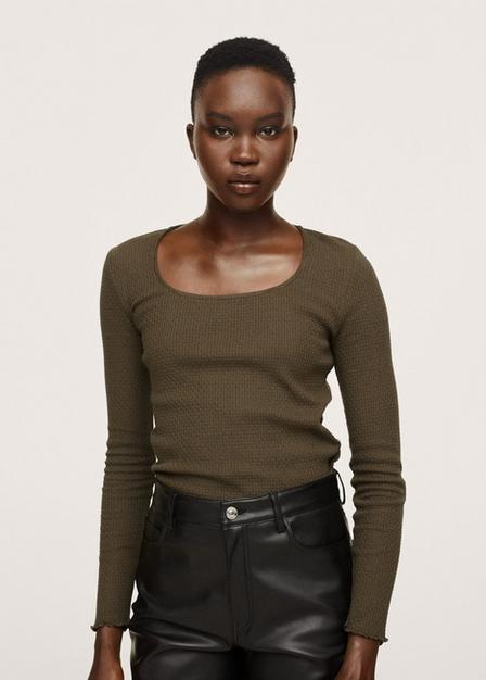 Mango - Beige - Khaki Long Sleeve Cotton T-Shirt, Women
