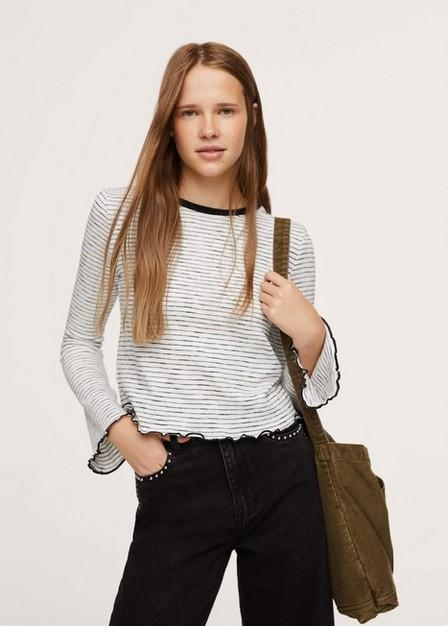 Mango - Light Beige Striped Long Sleeves T-Shirt, Kids Girl