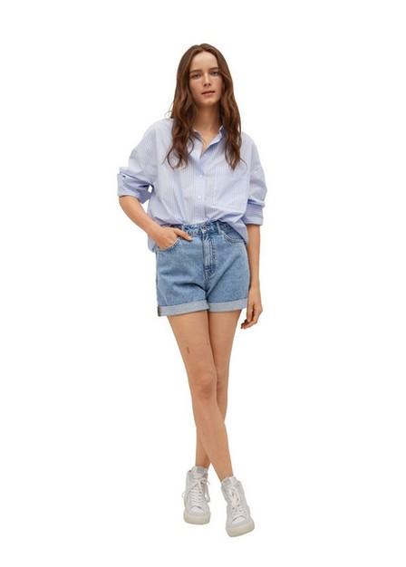 Mango - Open Blue Mom-Fit Denim Shorts, Women