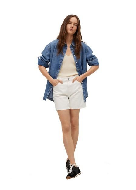 Mango - White Straight Denim Shorts, Women