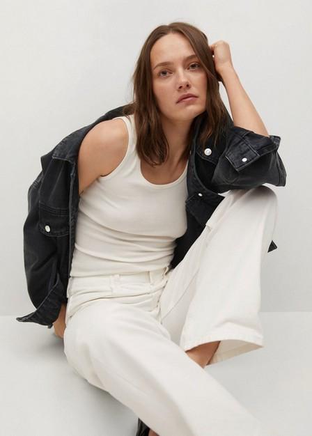 Mango - open grey Oversized denim jacket