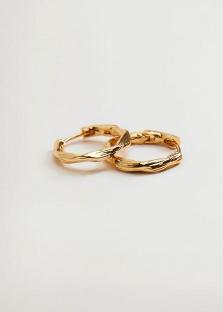 Mango - gold Embossed hoop earrings, Women