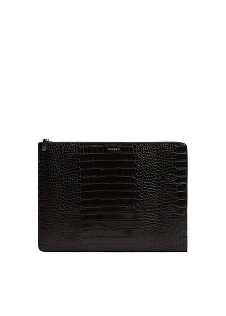 Mango - black Croc-effect laptop case, Women
