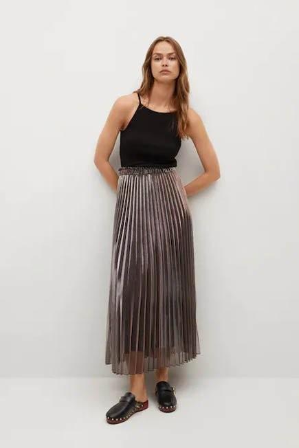 Mango - Rust - Copper Metallic Pleated Skirt, Women