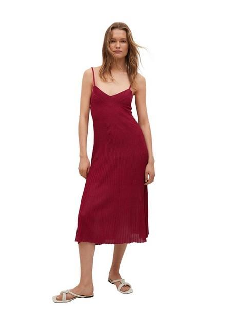 Mango - dark red Ribbed knit dress, Women