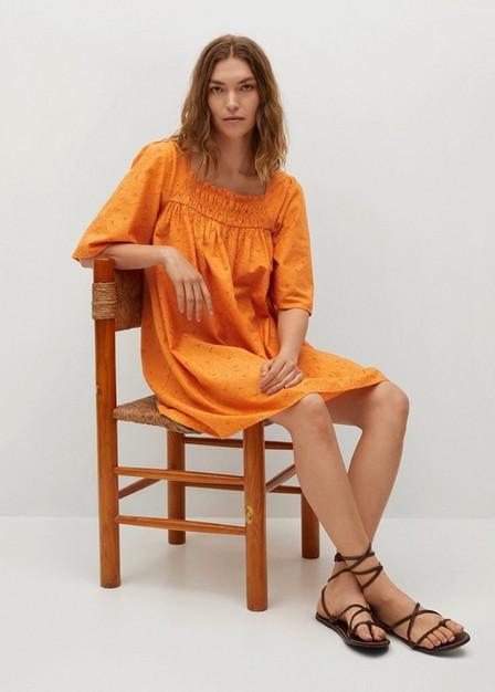 Mango - orange Textured cotton-blend dress, Women