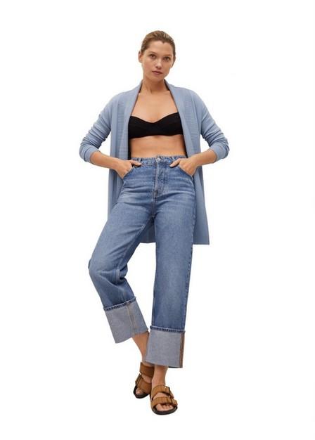 Mango - Lt-Pastel Blue Fine-Knit Cardigan, Women