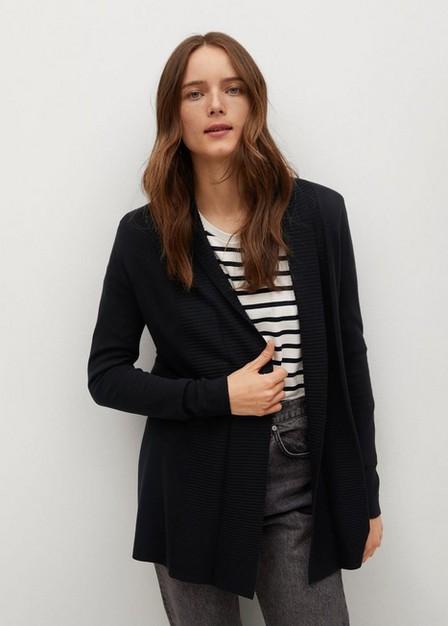 Mango - Black Fine-Knit Cardigan, Women