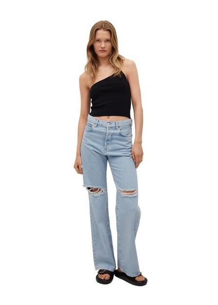 Mango - black Knit asymmetric top, Women