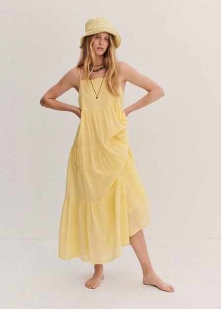 Mango - Yellow Frill Cotton Dress, Women