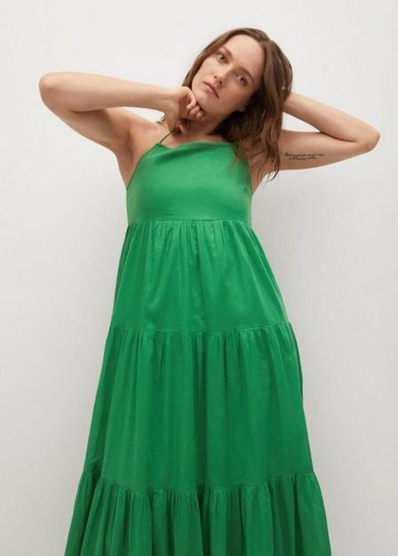 Mango - Green Frill Cotton Dress, Women