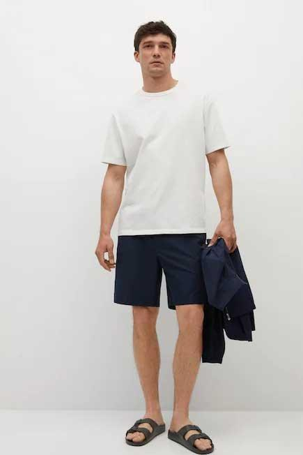 Mango - Natural White Relaxed Fit Cotton T-Shirt, Men
