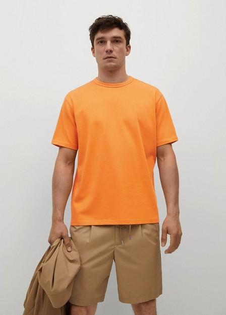Mango - Orange Relaxed Fit Cotton T-Shirt, Men