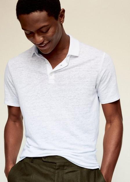 Mango - White Slim Fit 100% Linen Polo Shirt, Men