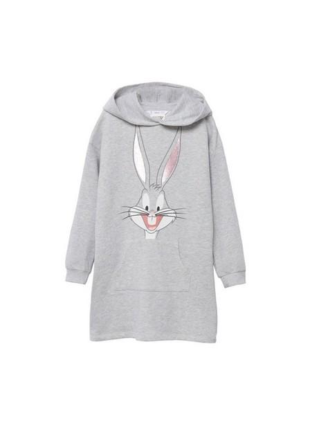 Mango - medium grey Bugs Bunny sweatshirt dress, Kids Girl
