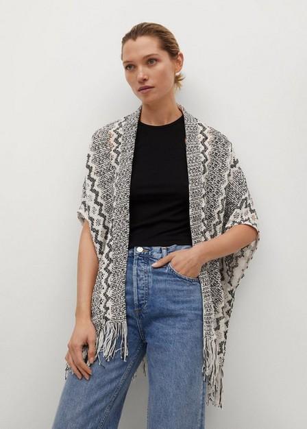 Mango - light beige Openwork knitted caftan, Women