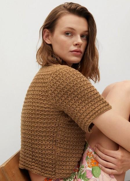 Mango - brown Openwork knit top, Women