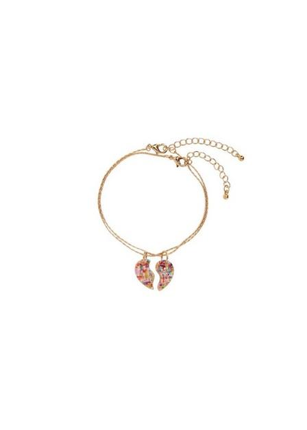 Mango - Gold 2-Pack Heart Bracelets, Kids Girl