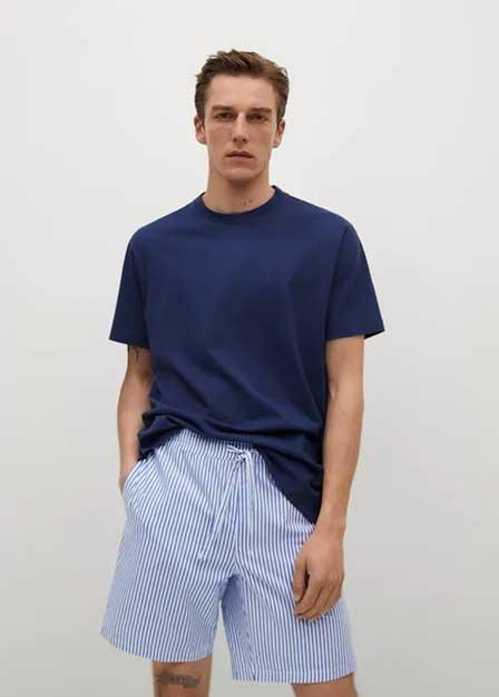 Mango - medium blue Cotton pyjama pack, Men