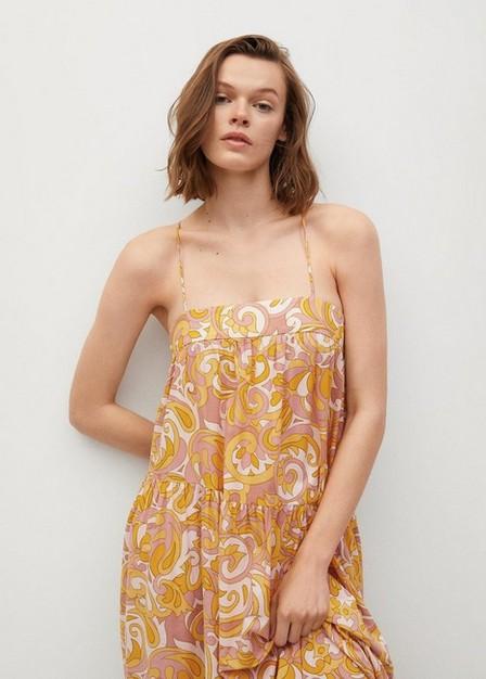 Mango - Yellow Maxi Ruffles Dress, Women