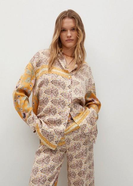Mango - dark yellow Combi print trousers, Woman