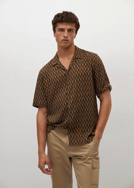 Mango - orange Regular-fit flowy linen shirt, Men