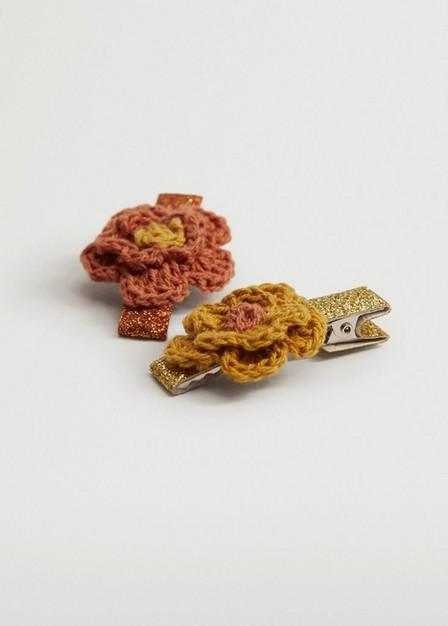 Mango - Orange 2 Pack Flower Hairclips, Kids Girl