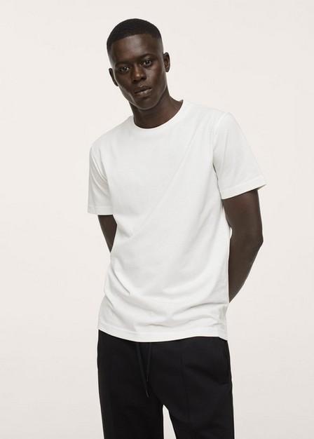 Mango - Natural White Sustainable Cotton Basic T-Shirt, Men