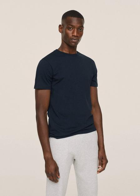 Mango - Navy Sustainable Cotton Basic T-Shirt, Men