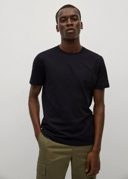 Mango - black Sustainable cotton basic T-shirt, Men