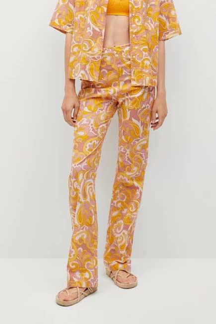 Mango - yellow Printed cotton trousers, Women
