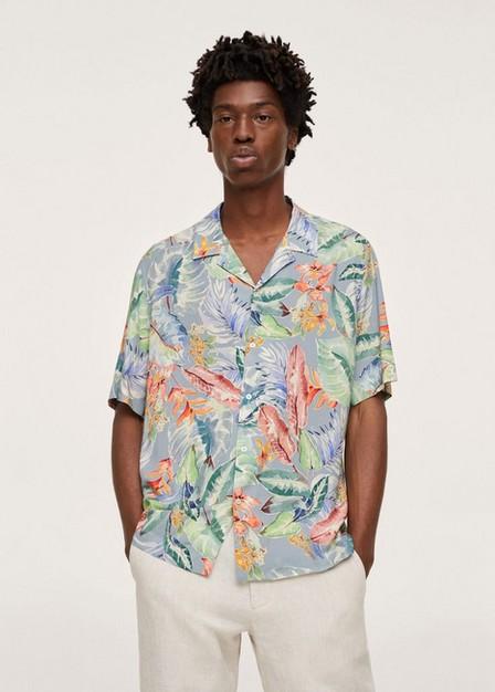 Mango - Medium Blue Printed Flowy Shirt, Men