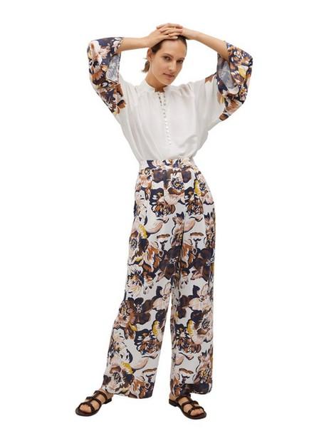 Mango - natural white Flowy printed trousers, Women