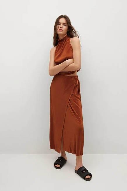 Mango - medium orange Satin pleated skirt, Women
