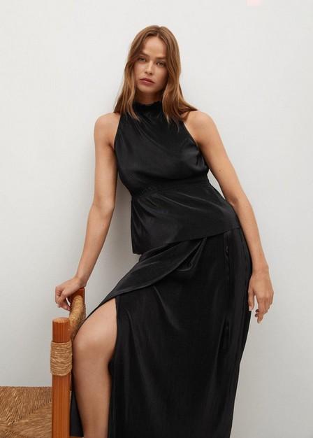 Mango - Black Satin Pleated Skirt, Women
