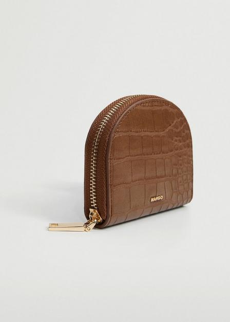 Mango - medium brown Croc-effect wallet, Women