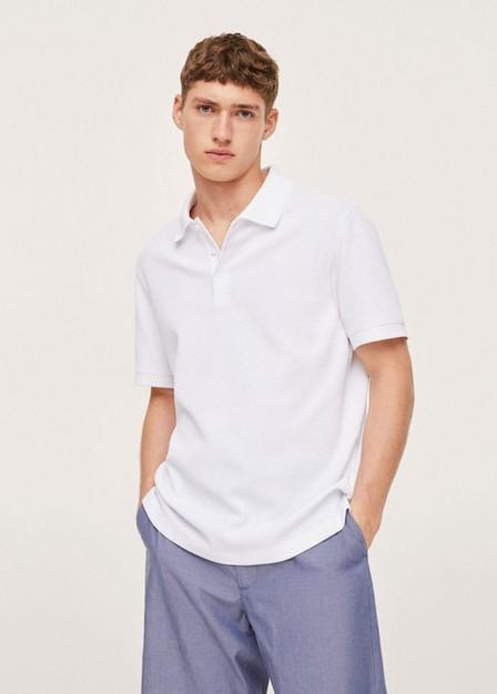 Mango - White Relaxed Cotton Jersey Polo Shirt, Men