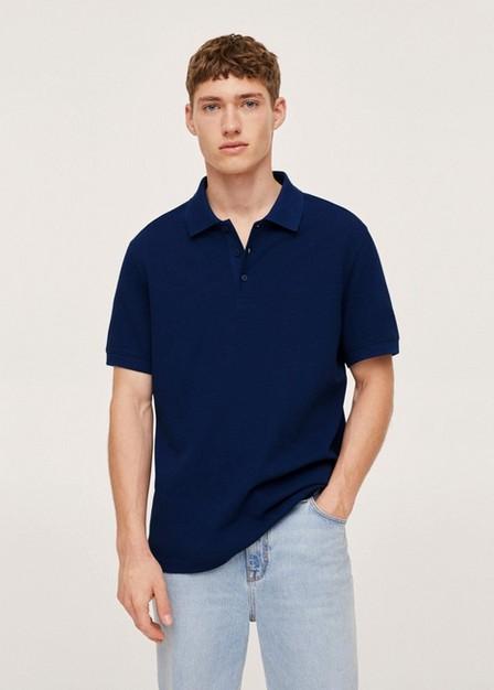 Mango - Medium Blue Relaxed Cotton Jersey Polo Shirt, Men