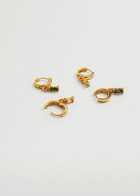 Mango - Gold Crystal Pack Earrings, Women