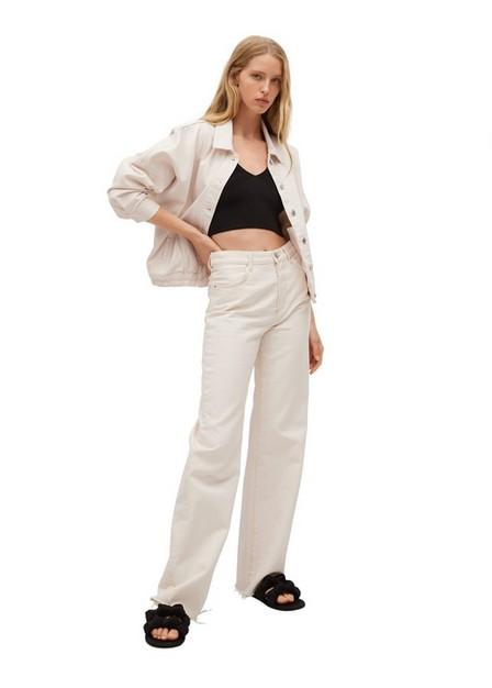 Mango - Light Beige Oversize Denim Jacket, Women