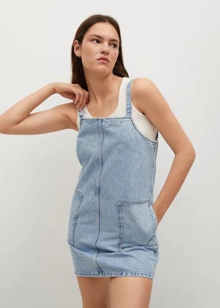Mango - open blue Pocket denim pinafore dress, Women