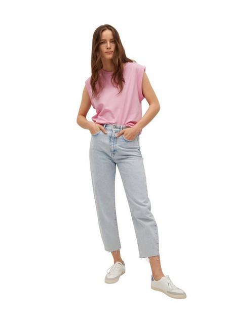 Mango - Bright Pink Pleated Details T-Shirt, Women