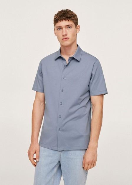 Mango - Medium Blue Regular-fit Technical Shirt, Men